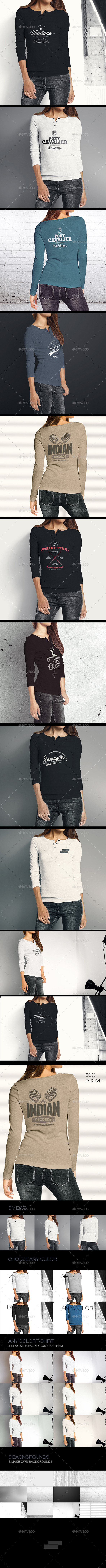 Woman Longsleeve Shirt Mock-up - T-shirts Apparel