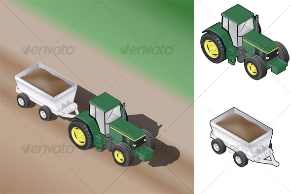 Isometric Farm Tractor w/Trailer - Man-made Objects Objects