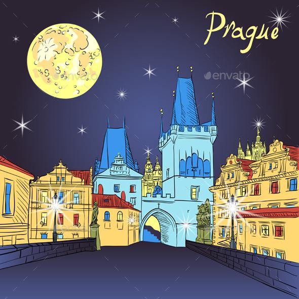Charles Bridge in Prague at Night - Travel Conceptual