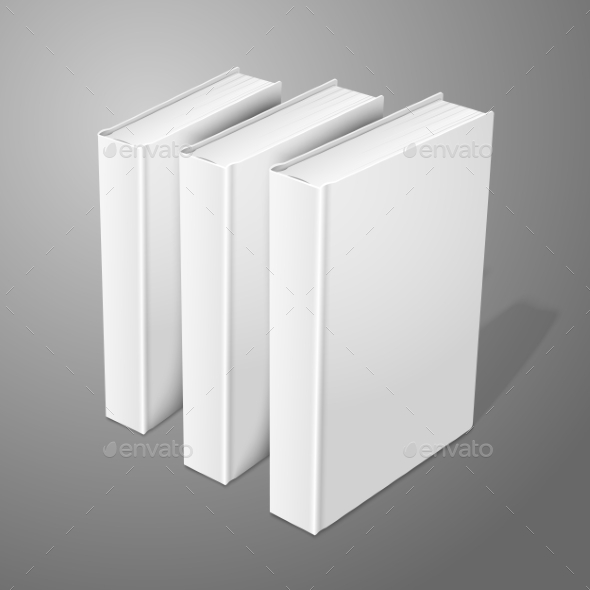 Three Realistic Standing Hardcover Books - Man-made Objects Objects