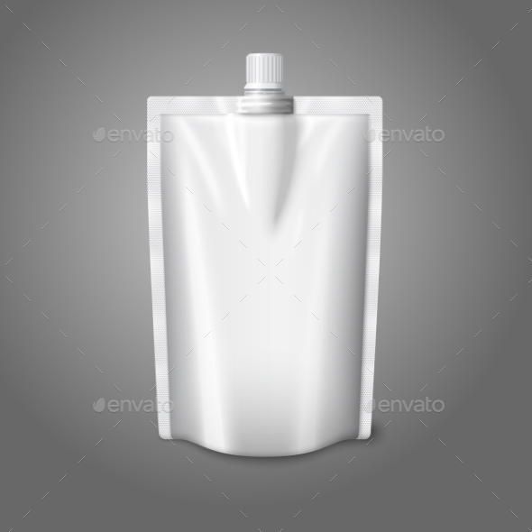 Blank White Realistic Plastic Pouch with Cap - Man-made Objects Objects