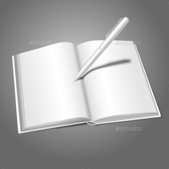 Blank White Realistic Opened Book and Pen - Man-made Objects Objects