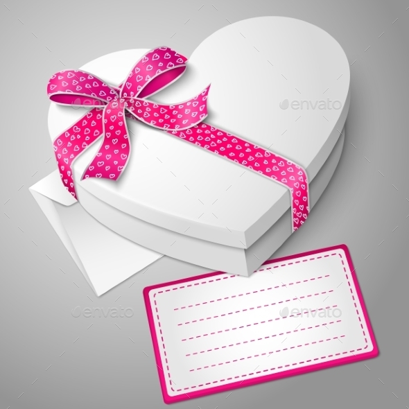 Realistic Blank White Heart Shape Box - Man-made Objects Objects