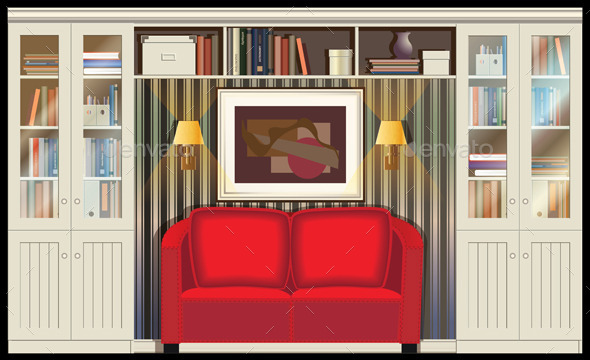 Room with a Sofa - Objects Vectors