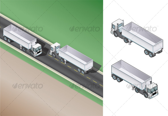 Trucks with Trailer - Characters Vectors