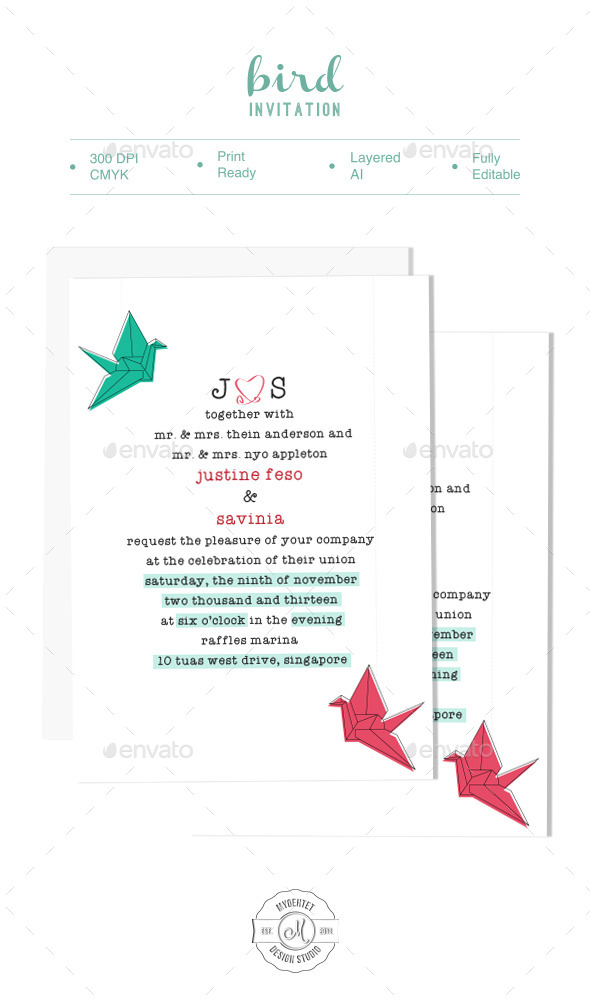 Bird Invitation - Cards & Invites Print Templates