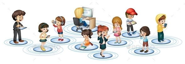 Communication Technology Concept - People Characters