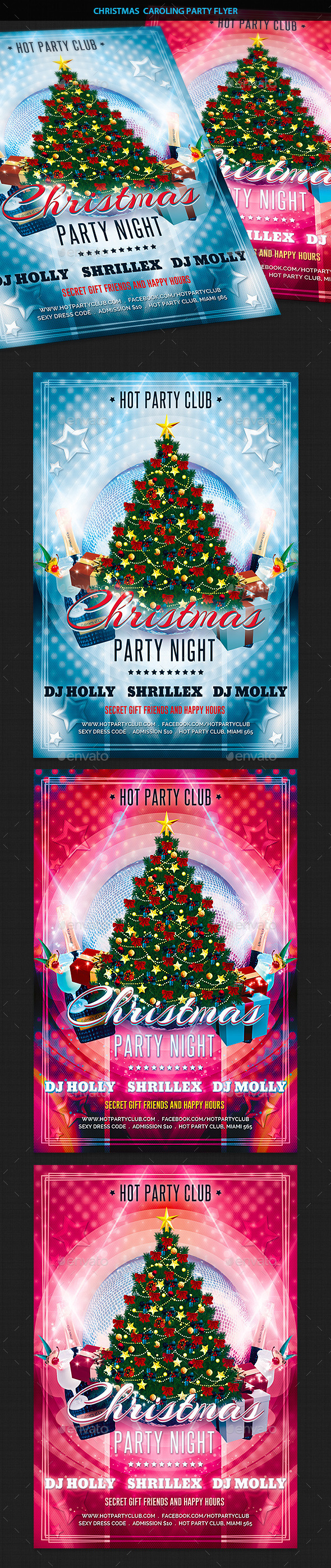 Christmas Caroling Party Flyer - Clubs & Parties Events