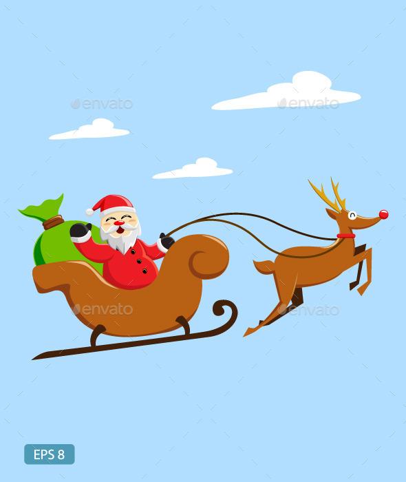 Santa Claus Riding Sleigh - Christmas Seasons/Holidays