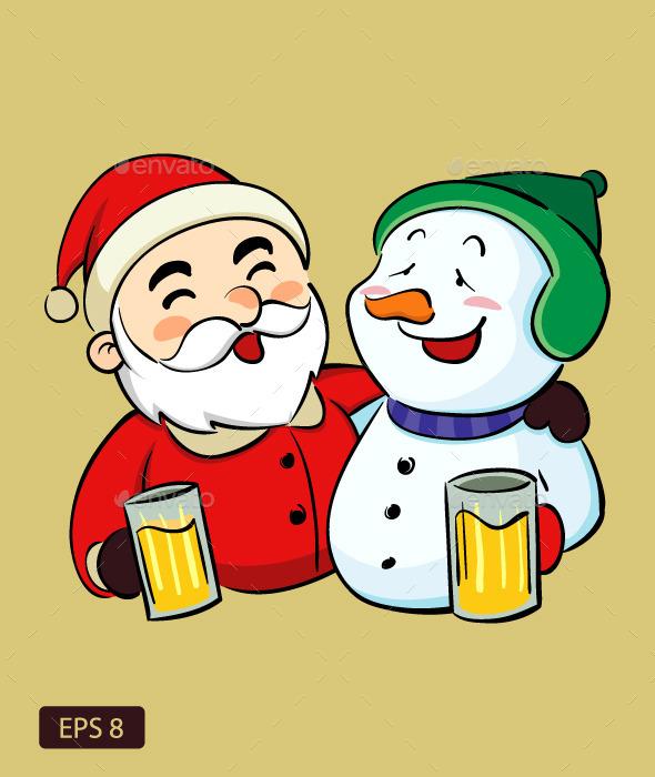 Drunk Santa Claus and Snowman - Christmas Seasons/Holidays