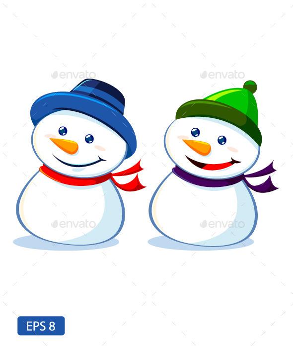 Two Snowmen - Christmas Seasons/Holidays