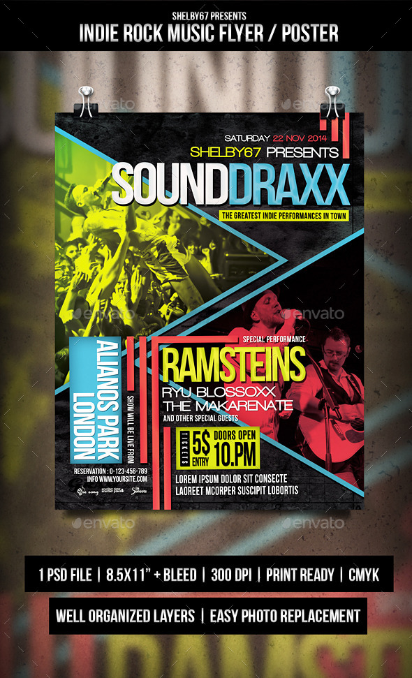 Indie Rock Music Flyer / Poster / Templates - Events Flyers