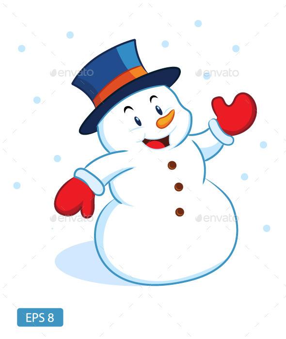 Happy Snowman Waving - Christmas Seasons/Holidays