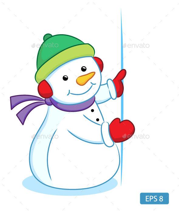 Snowman Holding Blank Sign - Christmas Seasons/Holidays