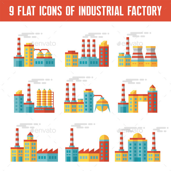 9 Industrial Factory Flat Icons - Industries Business