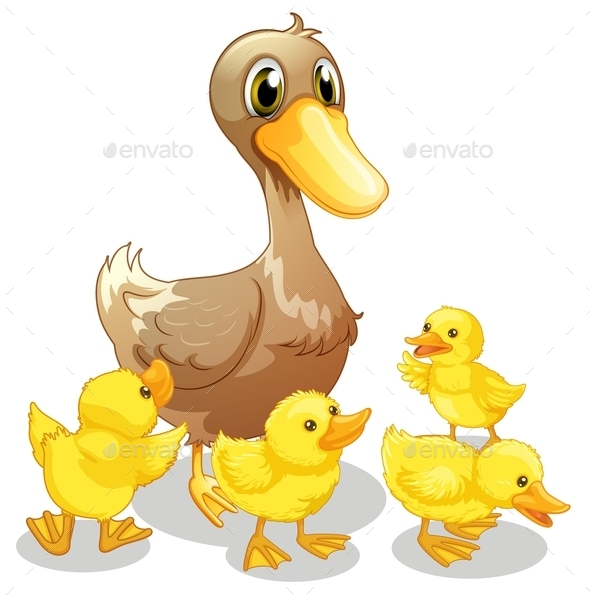 Brown Duck and Her Four Yellow Ducklings - Animals Characters