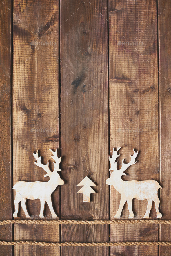 Two wooden deers - Stock Photo - Images