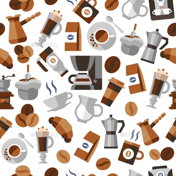Coffee Pattern - Backgrounds Decorative