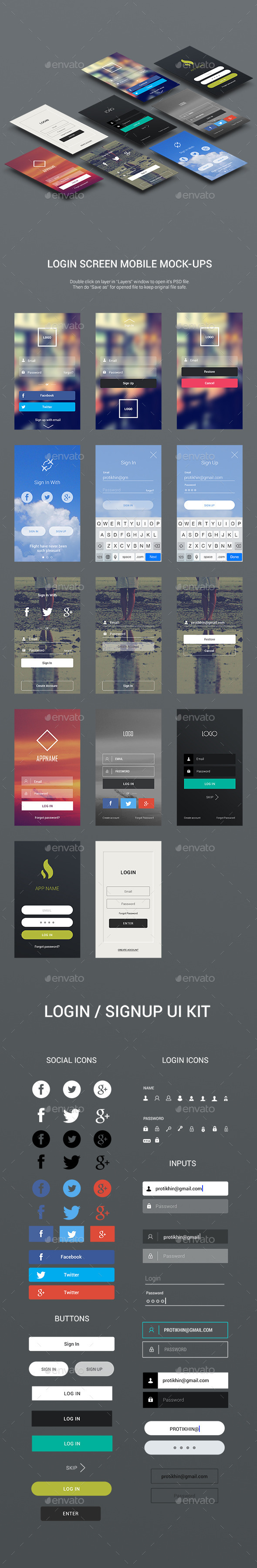 Flat Login Screen Mock-ups and Login UI Kit - User Interfaces Web Elements