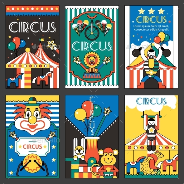 Circus Retro Posters - Backgrounds Decorative