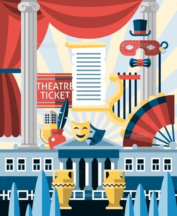 Theatre Icons Concept - Decorative Vectors