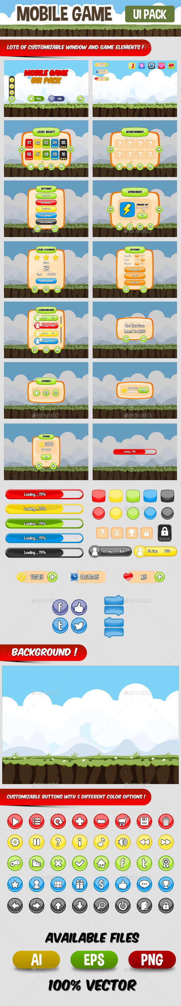 Mobile Game UI Pack - User Interfaces Game Assets