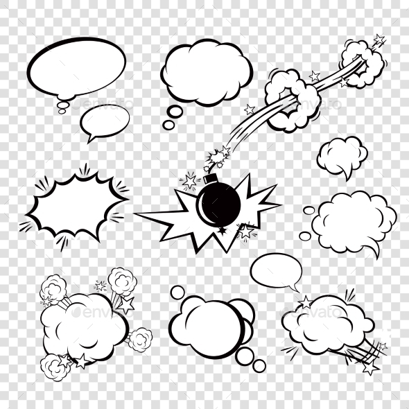 Comic Set Bubbles - Decorative Symbols Decorative