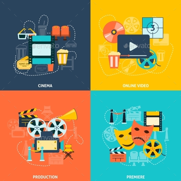 Cinema Flat Icons Composition - Concepts Business