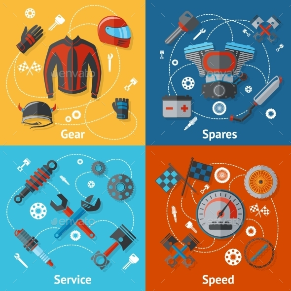 Motorcycle Parts Flat Set - Technology Conceptual