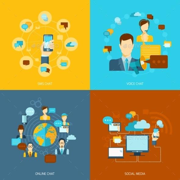 Chat Icons Flat - Communications Technology