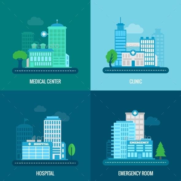 Medical Building Flat - Health/Medicine Conceptual