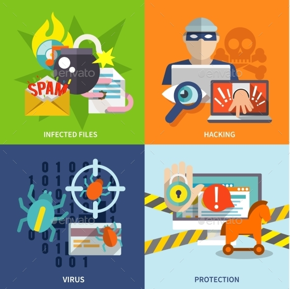 Hacker Icons Flat Set - Web Elements Vectors