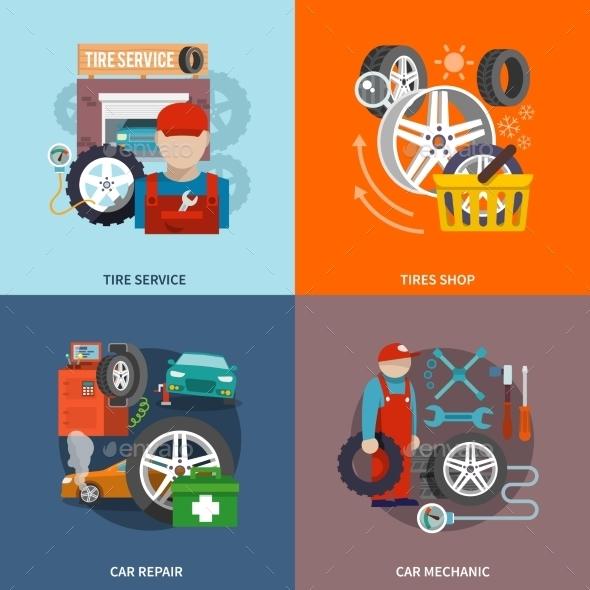 Tire Service Icon Flat - Web Elements Vectors