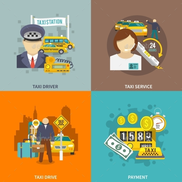 Taxi Icons Flat Set - Travel Conceptual
