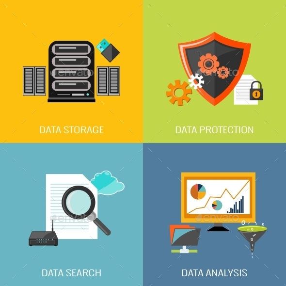 Database Icons Flat - Technology Conceptual