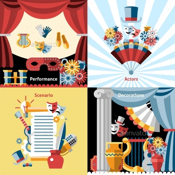 Theatre Flat Icon Set - Decorative Vectors