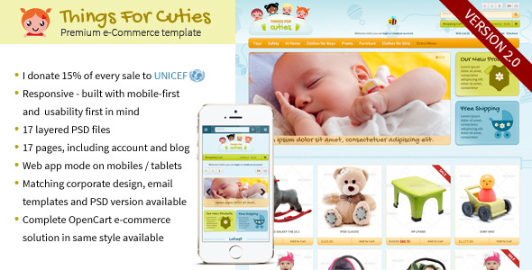 Things for cuties the e commerce baby kids shop for E commerce sites templates