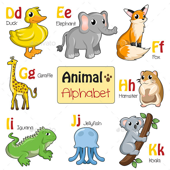 Alphabet Animals from D to K - Animals Characters