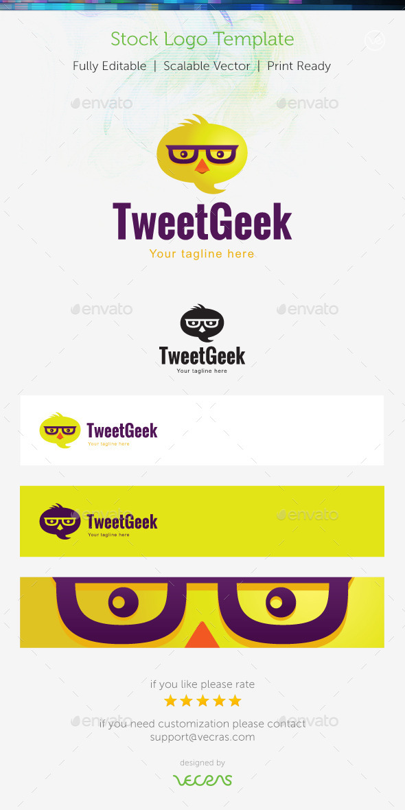 TweetGeek  Stock Logo Template  - Animals Logo Templates