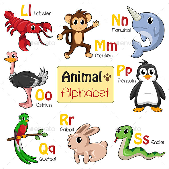 Alphabet Animals from L to S - Animals Characters