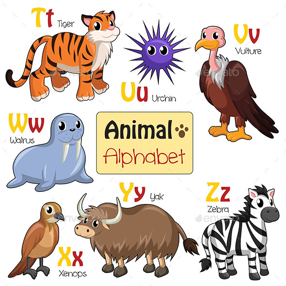 Alphabet Animals from T to Z - Animals Characters