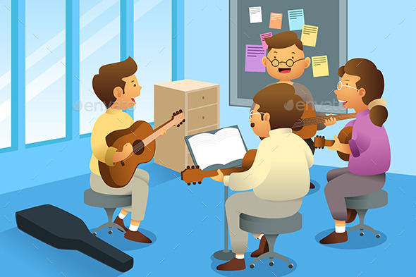 Adults in a Guitar Class - People Characters