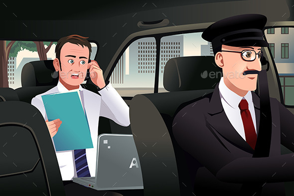 Businessman Talking on the Phone in a Car - Business Conceptual