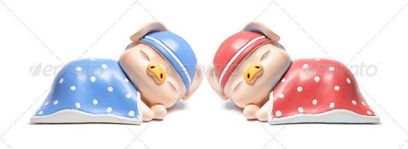 Sleeping Piggybanks - Stock Photo - Images