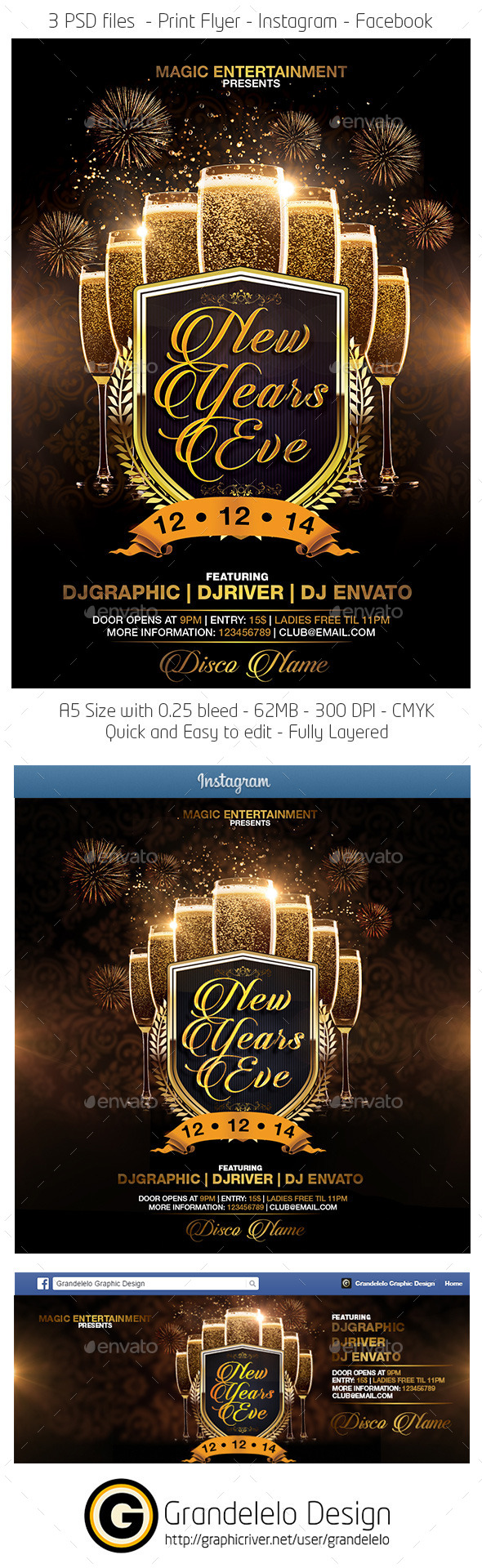 New Years Eve Flyer Facebook Instagram Template  - Clubs & Parties Events