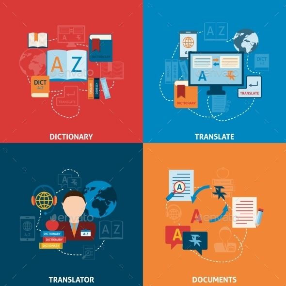Translation and Dictionary Flat Icons Composition - Communications Technology