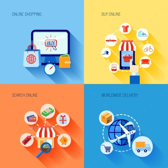 Shopping E-Commerce Icons Set Flat - Business Conceptual