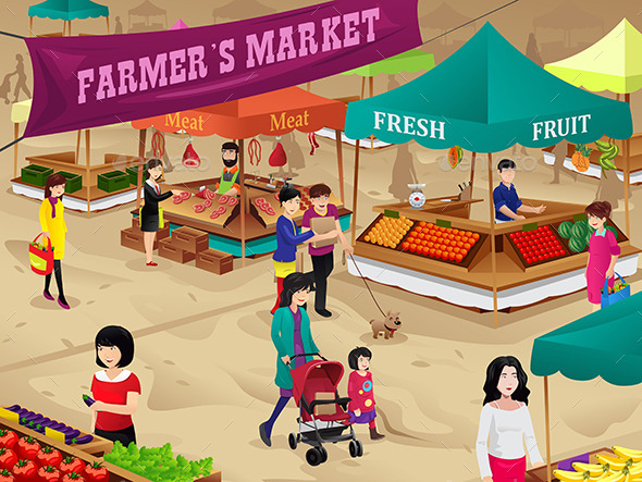 Farmers Market Scene - Business Conceptual