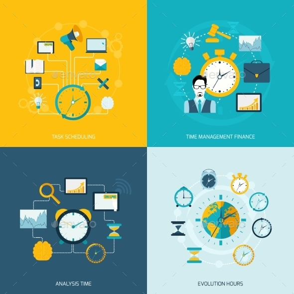 Time Management Flat Icons - Miscellaneous Vectors