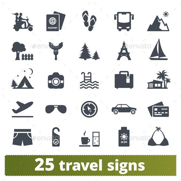 Travel icons: vector set. - Seasonal Icons